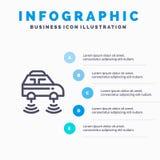Auto, Elektrisch, Netwerk, Smart, het pictogram van de wifilijn met infographicsachtergrond van de 5 stappenpresentatie vector illustratie