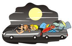Auto en familie - nacht Stock Foto's