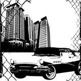 Auto en gebouwen Stock Afbeelding