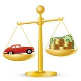 Auto en geld op schalen stock illustratie