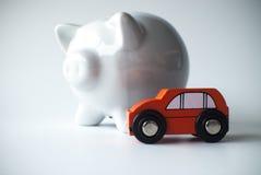 Auto en spaarvarken Royalty-vrije Stock Foto's