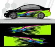 Auto en van de voertuigenomslag de Uitrustings vectorontwerpen van de overdrukplaatjegrafiek klaar te drukken en besnoeiing voor  royalty-vrije stock foto's