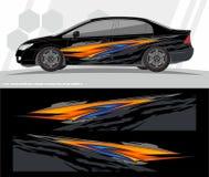 Auto en van de voertuigenomslag de Uitrustingsontwerpen van de overdrukplaatjegrafiek klaar te drukken en besnoeiing voor vinylst stock illustratie
