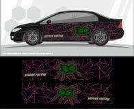 Auto en van het voertuigenoverdrukplaatje de ontwerpen van de Grafiekuitrusting klaar te drukken en besnoeiing voor vinylstickers vector illustratie
