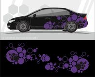 Auto en van het voertuigenoverdrukplaatje de ontwerpen van de Grafiekuitrusting klaar te drukken en besnoeiing voor vinylstickers stock illustratie