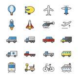 Auto en Vervoers de Reeks van Kleurenpictogrammen van het Vector Kleurrijke Vlakke Pictogram van de Illustratiestijl Stock Fotografie
