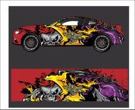 Auto en Voertuigsamenvatting die grafische uitrustingsachtergrond voor omslag en vinylsticker rennen vector illustratie