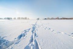 Auto en voetstappen op het sneeuwgebied royalty-vrije stock afbeelding