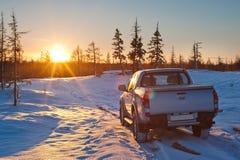 Auto en zon Stock Foto
