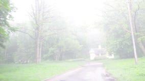 Auto in erstaunlichem dichtem Nebel der Parkstraße fahrend, bedecken Sie Bäume und Haus stock video
