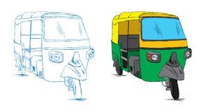 Auto esboço indiano do riquexó - ilustração do vetor Fotografia de Stock