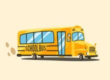 Auto escolar amarelo do vintage Ilustração do vetor dos desenhos animados Fotografia de Stock