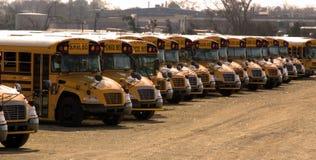 Auto escolares estacionados em uma fileira longa Imagem de Stock