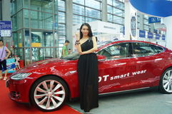 Auto exhibition and female model Stock Photos