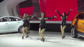 Auto exhibition promotion dance stock video footage