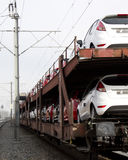 Auto market. Train loaded with lots of cars Royalty Free Stock Photo