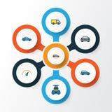 Auto färgrik översiktssymbolsuppsättning Samling av tvagning, bil, maskin och andra beståndsdelar Inkluderar också symboler vektor illustrationer