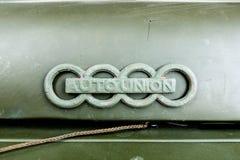 Auto facklig logo på Oldtimer royaltyfri foto