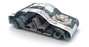 Auto-Finanzierung mit saudi-arabischen Riyals stock abbildung