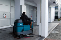 Auto Floor Cleaning Machine. AUCKLAND, NZ - MAY 26: Floor scrubbers on May 26 2013. A team of Italian technicians designed the first prototype of a street Stock Photo