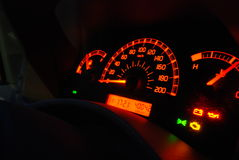 Auto gauges illuminated stock image