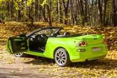 Auto gegen die Herbstbäume Stockfotos