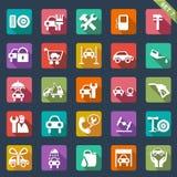 Auto geplaatst de dienstpictogram - vlak ontwerp Stock Foto's