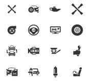 Auto geplaatste pictogrammen Stock Foto's