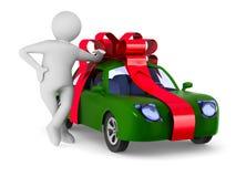 Auto in giftverpakking op witte achtergrond Geïsoleerde 3D illustratio Stock Afbeelding