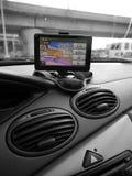 Auto: GPS systeem op streepje Stock Fotografie