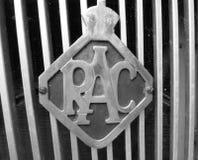 Auto-Grillausweis des Weinlesemetall RAC Stockbild