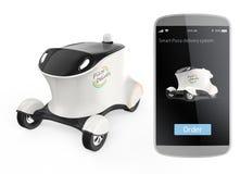 Auto-guidando il robot e lo Smart Phone di consegna isolati su fondo bianco Fotografia Stock Libera da Diritti