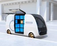 Auto-guidando la porta laterale del ` s del furgone di consegna aperta illustrazione di stock
