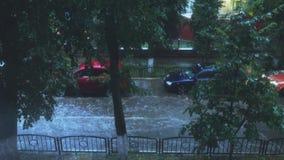 Auto het drijven langs overstroomde stadsstraat in zware regen stock video