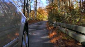 Auto het drijven op een straat in de herfst stock videobeelden