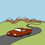 Auto het drijven op een windende weg Royalty-vrije Stock Afbeelding