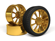Auto het gouden wiel 3d teruggeven Stock Afbeeldingen