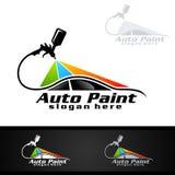 Auto het Schilderen Embleem met Spuitpistool en Sportwagenconcept vector illustratie