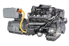 Auto-Hybrid-Antrieb lokalisiert stockfoto