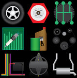 Auto Icon Set. Collection of automotive icons selected for service categories. Includes tire, brakes,transmission,tuneup,oil change,belts,electrical,steering and Royalty Free Stock Images