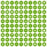 100 auto icons hexagon green Royalty Free Stock Photo