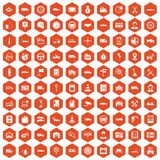 100 auto icons hexagon orange. 100 auto icons set in orange hexagon isolated vector illustration stock illustration