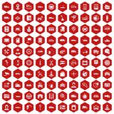 100 auto icons hexagon red. 100 auto icons set in red hexagon isolated vector illustration stock illustration