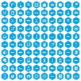 100 auto icons set blue. 100 auto icons set in blue hexagon isolated vector illustration Stock Images