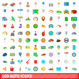 100 auto icons set, cartoon style Stock Photos