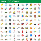 100 auto icons set, cartoon style. 100 auto icons set in cartoon style for any design vector illustration royalty free illustration
