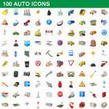 100 auto icons set, cartoon style. 100 auto icons set in cartoon style for any design illustration stock illustration