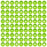 100 auto icons set green circle. Isolated on white background vector illustration Stock Illustration