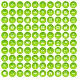 100 auto icons set green. 100 auto icons set in green circle isolated on white vectr illustration Stock Photography