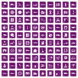 100 auto icons set grunge purple. 100 auto icons set in grunge style purple color isolated on white background vector illustration Royalty Free Stock Images